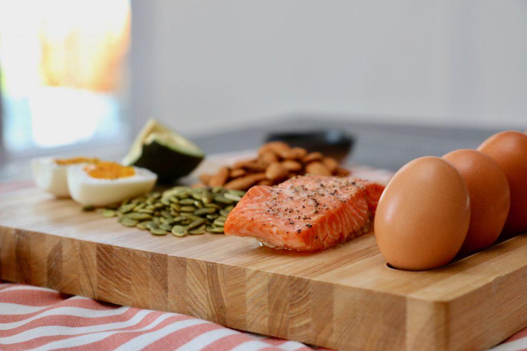 salmon, eggs, avocado, seeds